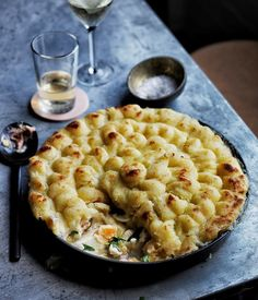 Fish pie with piped potato
