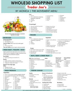 Clean Eating Diet A Trader Joe's Grocery Guide! grocery shopping doesn't need to be difficult. Here is an extensive list just for you! - A Trader Joe's Shopping List! grocery shopping doesn't need to be difficult. Here is an extensive list just for you! Whole 30 Diet, Paleo Whole 30, Whole Foods List, Whole 30 Snacks, Paleo Recipes, Whole Food Recipes, Paleo Meals, Frugal Meals, Paleo Food