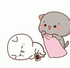 Cute Anime Cat, Cute Bunny Cartoon, Cute Kawaii Animals, Cute Cartoon Pictures, Cute Love Pictures, Cute Love Cartoons, Cute Cat Gif, Cute Bear Drawings, Cute Cartoon Drawings