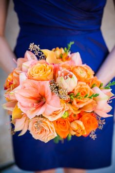 Coral, Orange + Gold Bouquet // Gold, Navy + Orange Wedding // Dana Cubbage Weddings // Charleston SC + Destination Wedding Photographer