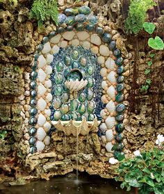 Romantic seashell fountain from Abalone, Paua seashells and huge 2 Tridacna shells.