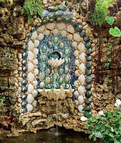 beaches, shell fountain, water features, anthropologie, sea, newport beach, mosaic, garden, traditional homes