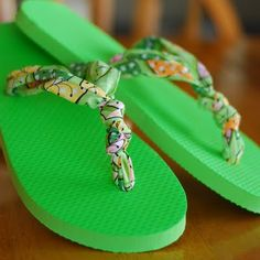 Turn dollar store flip flops into a fashion statement with fabric scraps.
