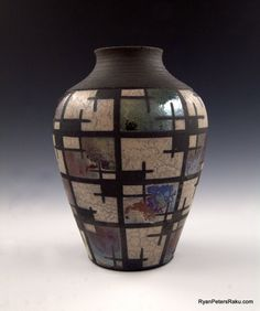 Raku Pottery  Large Vase  Checkerboarded by clayguyry on Etsy, $145.00