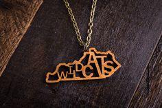 Wood Wildcats Mascot Necklace #kentucky #wildcats #SEC #tailgating #football