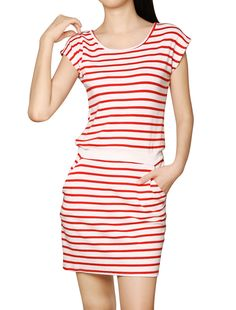 Allegra K Women's Round Neck Sleeveless Stripes Unlined Casual Dresses Red (Size S / 4)