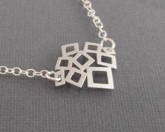Multi Squares Necklace STERLING SILVER CHIAN by LadyKJewelry