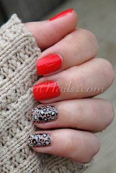If five fingers of animal print feels like too much, pick one or two nails to decorate with leopard instead. Then add a bright contrasting color like the bright orangey-red polish in this design. Get the tutorial from Chit Chat Nails » - GoodHousekeeping.com