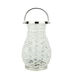 1625 Modern White Decorative Woven Iron Pillar Candle Lantern with Glass Hurricane ** Click on the image for additional details.