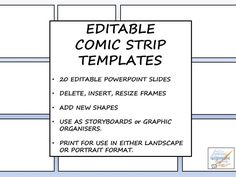 20 different arrangements for any comic strip, storyboard, planner or graphic organiser activity across the curriculum. These are fully editable PowerPoint slides and frames can be inserted, deleted, or resized as required. New shapes or elements such as ...