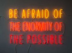 'Be afraid of the enormity of the possible' Neon, 2015 by artist Alfredo Jaar