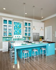 """""""Beach Ball"""" is the 2nd Place Medium Kitchen and also the winner of Budget Friendly Kitchen. It has a Gulf Coast color palette, with white g..."""