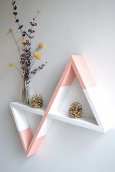 Keep your eyes out for this amazing wall shelf in one of my upcoming nursery design boards! Interior Decorating, Interior Design, Interior Ideas, Decorating Ideas, Wall Shelves, Shelf, Shelving, Geometric Shelves, Room Decor