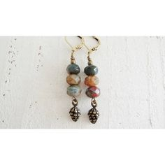Fall Forest Earrings Pine Cone Earrings Earthy Colors Artisan Czech... (7.385 HUF) ❤ liked on Polyvore featuring jewelry, earrings, bead jewellery, cone jewelry, beaded earrings, beading earrings and cone earrings