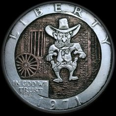 """Sheriff Longhorn"" - Hobo Nickel carved by Shaun Hughes . Hobo Nickel, Coin Art, Old Coins, Sheriff, Paper Weights, Art Forms, Metal Art, Sculpture Art, Folk"