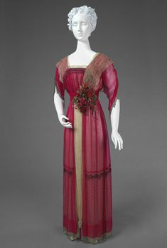 Edwardian silk chiffon and satin dinner dress with lace, tulle, bead and sequin embroidery, bead fringe, and silk flowers [American], c. 1914