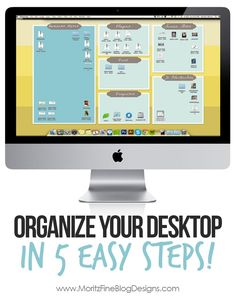 In no time at all I followed these 5 easy steps and turned my computer desktop into an organizer's DREAM!! Super easy, everyone needs to do this!  Awesome idea. | www.MoritzFineBlogDesigns.com