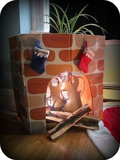 mandeeblogs: Fireplace From a Box: Instructables Box Challenge