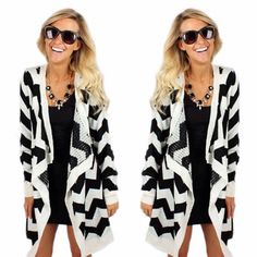 Brrr...baby it's cold outside! Bundle up in the amazing new black&white chevron cardigan for only $39.99! Shop it now online at