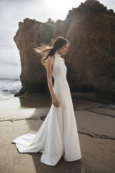 The Jenny by Jenny Yoo Dawson gown is a modern & sleek fit & flare silhoutte with a sophisticated halter neckline in our chic Knit C. Backless Wedding, Wedding Gowns, High Neck Wedding Dresses, Sleek Wedding Dress, Modern Wedding Dresses, Lace Wedding, Bridal Musings, Long Sleeve Wedding, Corsage