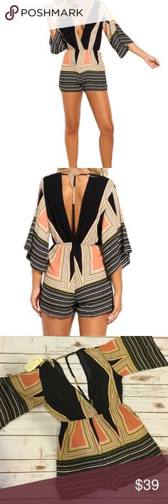 "Restocked! Celltronic Boho Striped Romper Crafted from soft viscose fabric that is smooth and comfortable. Striped print, deep V and open back that adds a sexy touch. Wide cut 3/4 sleeves. Elastic waistband.   Measurements (approximately) Tags on the romper say XL, but I tagged it here as Large because they run small.   Large  Shoulder 14.9""/Bust 35.5""/ waist 30"" ~ 35.4""/ hips 49""/ length 31.5"" Bchic Pants Jumpsuits & Rompers"