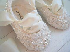 Ultimate Baby Ballet Ivory Slipper Shoes Flower Girl by BobkaBaby