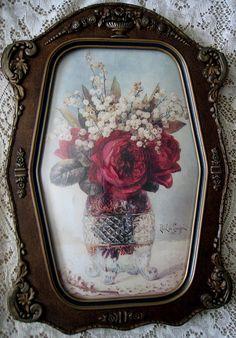 Roses. Print Paul de Longpre Fancy Antique Gesso Frame New arrival at Victorian Rose Prints on etsy.com