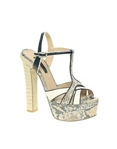 River Island Snake Print Platform Heels - StyleSays