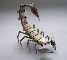 Mechanical Scorpion by A Mechanical Mind Recycled Watch Parts Watch Faces Dials Stems Unique Clockwork Arachnid Sculpture w/ Dome. $350.00, via Etsy.