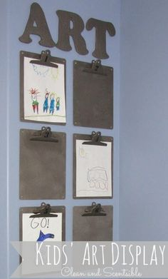 Excellent way to display art in the classroom or even at home! I may do this next year in my classroom!!