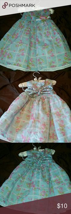 Cotton spring dress excellent condition Baby blue and pink with crinoline skirt a back button up cotton dress size 12 months Dresses