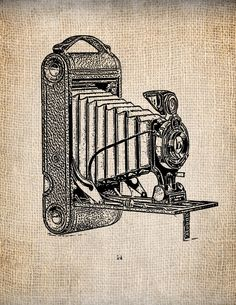 Antique Kodak Camera 1 Clipart  Illustration Printing  Digital Download for Papercrafts, Transfer, Pillows, etc. No 1333