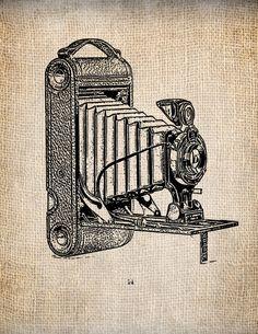 Antique Kodak Camera 1 Clipart  Illustration Printing  Digital Download for Papercrafts, Transfer, Pillows, etc. No 1333