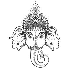 Ganesha Hindu Elephant God Head Sketch Coloring Page Buddha Elephant, Henna Elephant, Elephant India, Elephant Face, Small Elephant, Indian Elephant Tattoos, Disney Elephant, Mandala Elephant, Elephant Elephant