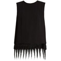 Adam Lippes Sleeveless fringe-trimmed satin-crepe top ($935) ❤ liked on Polyvore featuring tops, black, fringe tops, loose fit tank top, sleeveless tank tops, loose fitting tank tops and loose tank