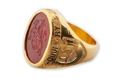Custom Men's Ring Engraved Regnas Stone Signet Gold by Regnas, $465.00