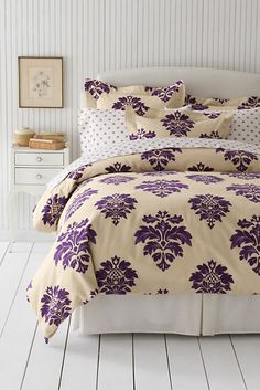 Damask Flannel Duvet Cover in Deep Concord Damask from Lands' End