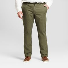 Men's Big & Tall Straight Fit Hennepin Chino Pants - Goodfellow & Co Olive (Green) 44X32