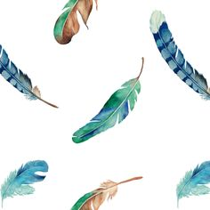 Watercolor Blue Feather A-R fabric by atelier_kaori on Spoonflower - custom fabric Blue Feather, Textile Design, Custom Fabric, Spoonflower, Watercolor Art, Craft Projects, Fabrics, Clip Art, Colorful