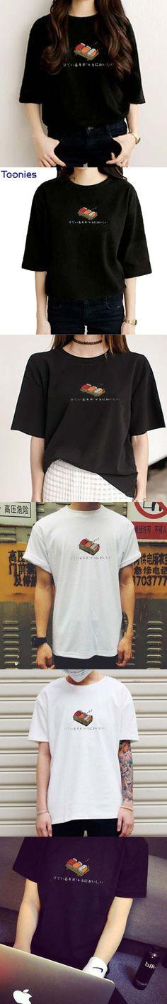 Summer Women Tops Japanese Sushi Printed Cartoon Kawaii T Shirt Women Short Sleeved Women's T-Shirt Fashion Style Couple Clothes