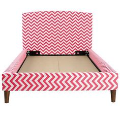 Love these chevron beds from Land of Nod. Comes in pink/white, gray/white, black/white, lime green/white. So stylish! I would LOVE to get Harper one of these Pink Chevron Bedding, Chinoiserie Chic, My Home Design, Upholstered Beds, Baby Store, Big Girl Rooms, Kids Rooms, Kid Beds, Kids Furniture