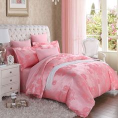 Pink Girls Victorian Rose Pattern Noble Excellence Luxury Jacquard Design 100% Cotton Satin Full, Queen Size Bedding Sets