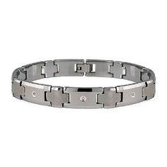 Tungsten Carbide Diamond Men's Link Bracelet (12mm Wide) 8.5 Inches
