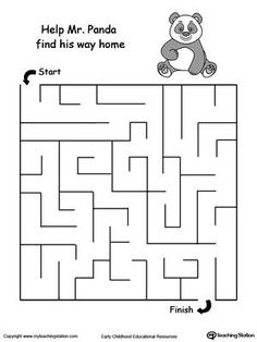 Panda Maze: Help your child boost their fine motor skills and develop their concept of direction with this printable maze worksheet. Mazes For Kids Printable, Fun Worksheets For Kids, Puzzles For Kids, Kindergarten Worksheets, Printable Worksheets, Free Printable, Panda Activities, Preschool Activities At Home, Toddler Activities