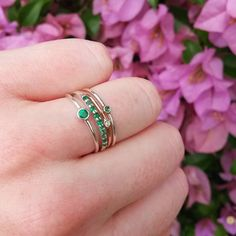 A tiny stack of green for a sunny day #emerald #emeraldring #stack #rosegold #diamond #silver #flowers #green #purple #sun #jewellery #rings #jewelry #singapore #adelaide