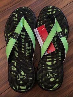 5f7b243c548410 New Womens Under Armour Sandals Flip Flops 11 Neon Green Black Marbella 4D  Foam