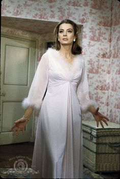 Still of Capucine in What's New Pussycat. Fabulous marabou trim nightgown