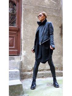 Winter Warm Asymmetric Extravagant Black Coat A07149  #coat #zippers #Aakasha #asymmetric #elegant #extravagant #stylish