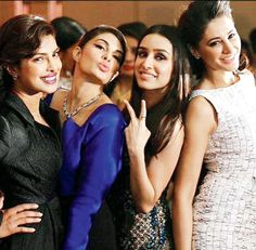 Priyanka Chopra shared this picture of her with Jacqueline Fernandez, Shraddha Kapoor and Nargis Fakhri for company. #Bollywood #Fashion #Style #Beauty