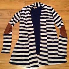 Elbow Patch Striped Cardigan with navy PIKO